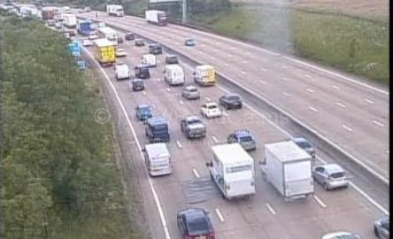 Traffic building up on the M25 near Pottters Bar