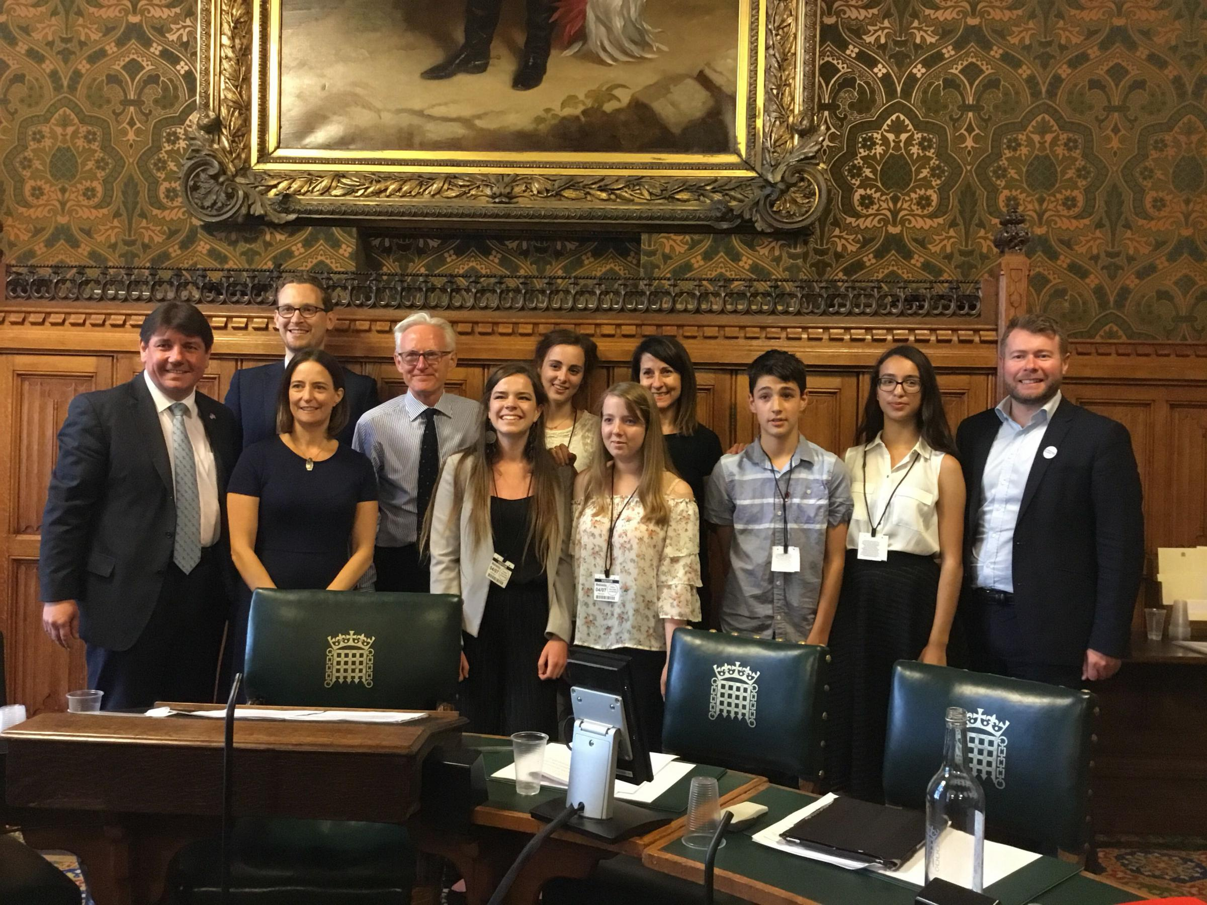 Orlaith Lindsay, (second from right) with MPs and fellow young people at the Commons Science and Technology Committee