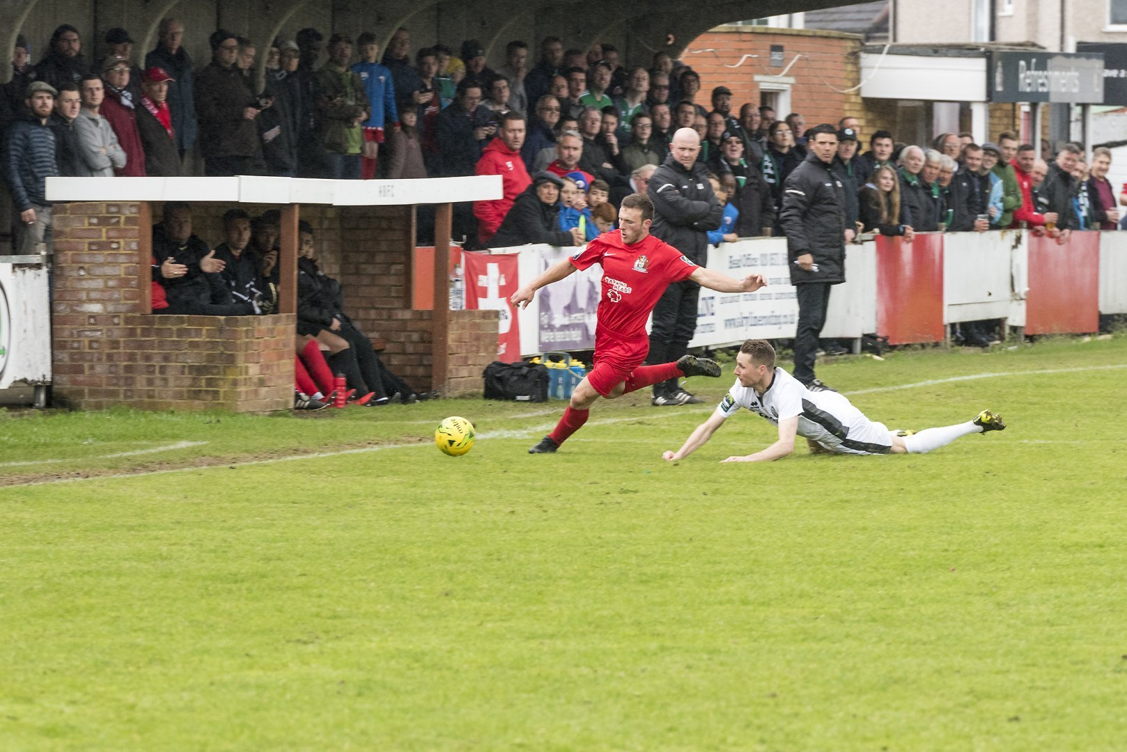 George Moore, pictured in action last season, scored twice at Kings Langley. Picture: Bruce Viveash