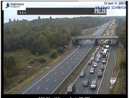 Queueing on the M1 tonight. Photo: Highways England
