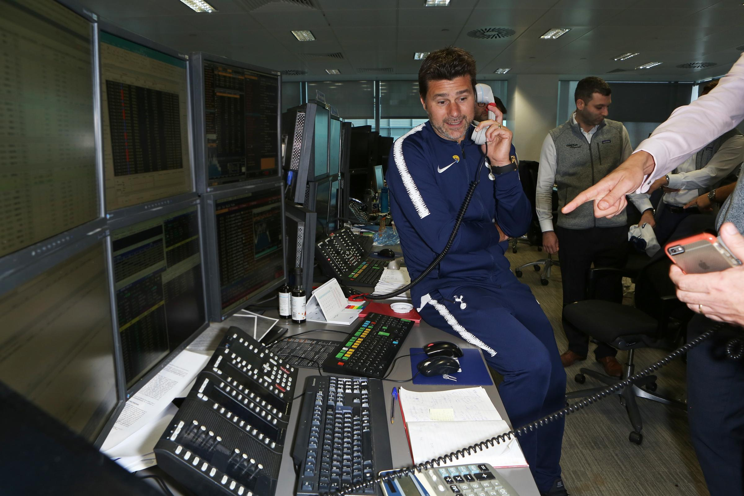 Mauricio Pochettino test at the annual BGC Partners and Cantor Fitzgerald Charity Day to help raise money for Noah's Ark Children's Hospice