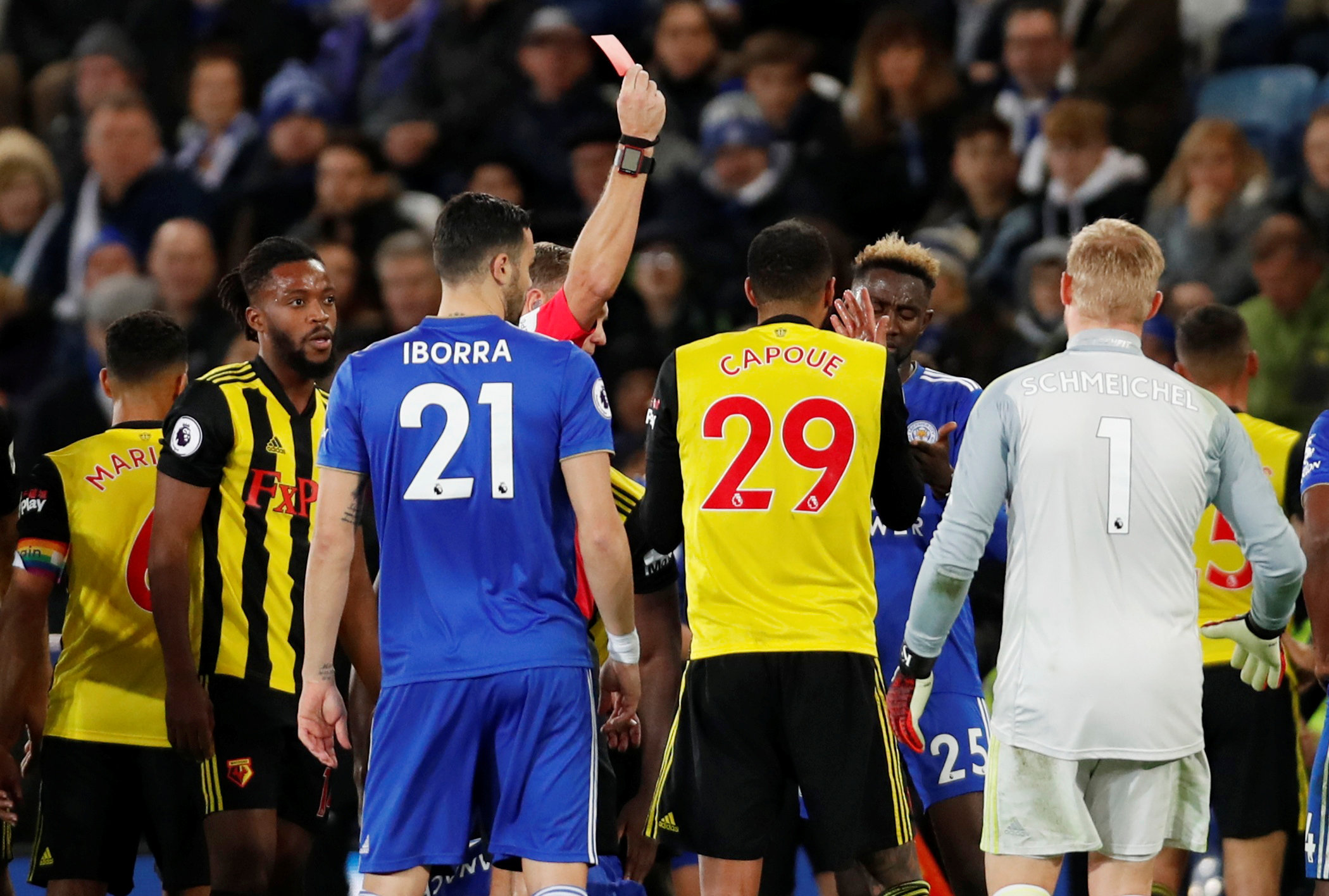A bad end to a disappointing afternoon: Etienne Capoue is sent off. Picture: Action Images