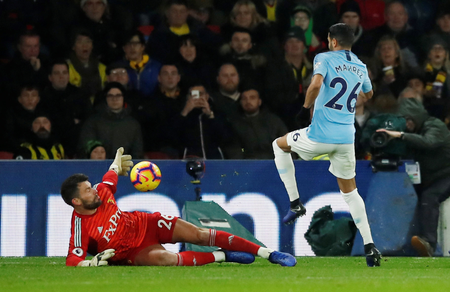 Ben Foster produces one of several high-class saves to deny Riyad Mahrez. Picture: Action Images