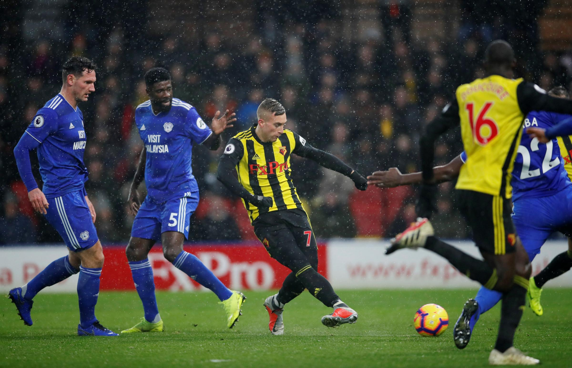 Gerard Deulofeu gives Watford the lead. Pictures: Action Images