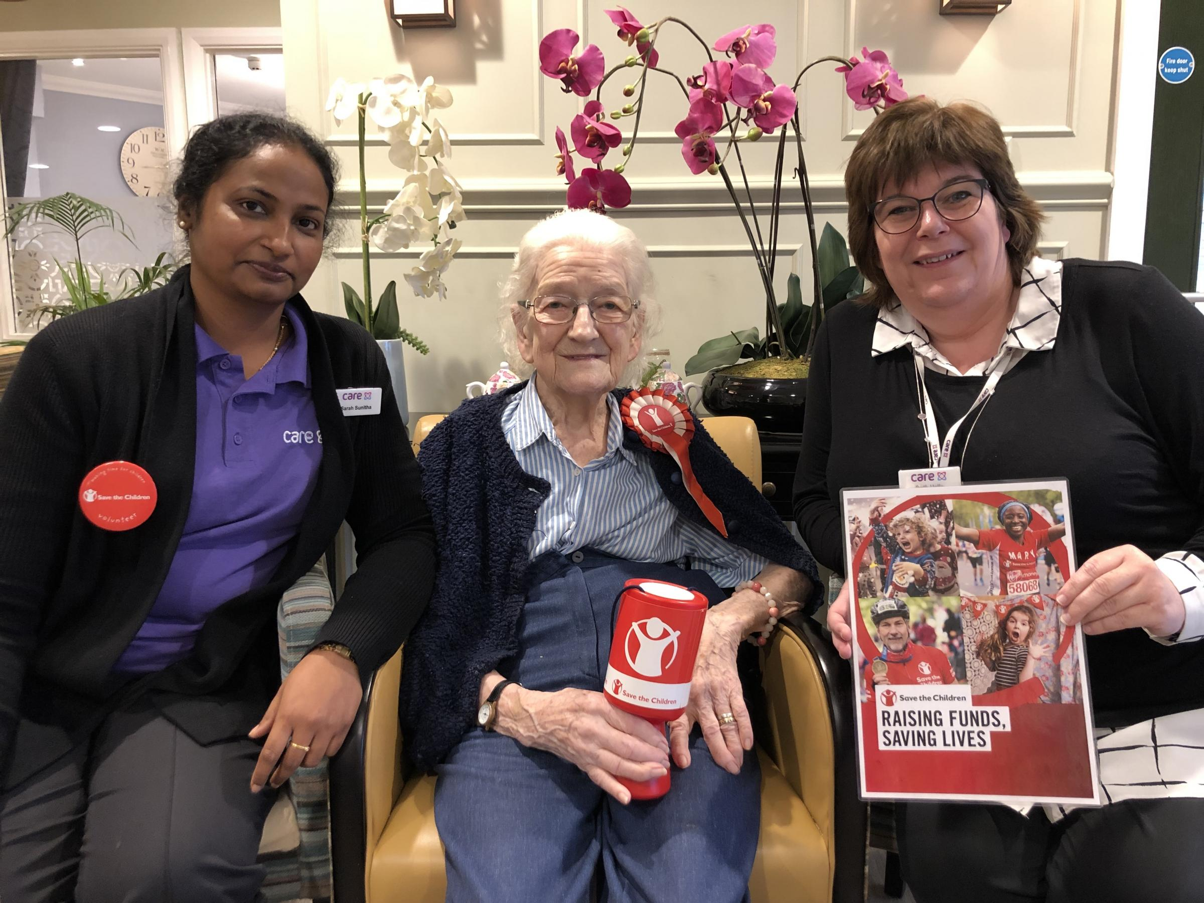 Margaret with Buchanan Court team member Sarah Sunitha and Buchanan Court home manager Ruth Halls