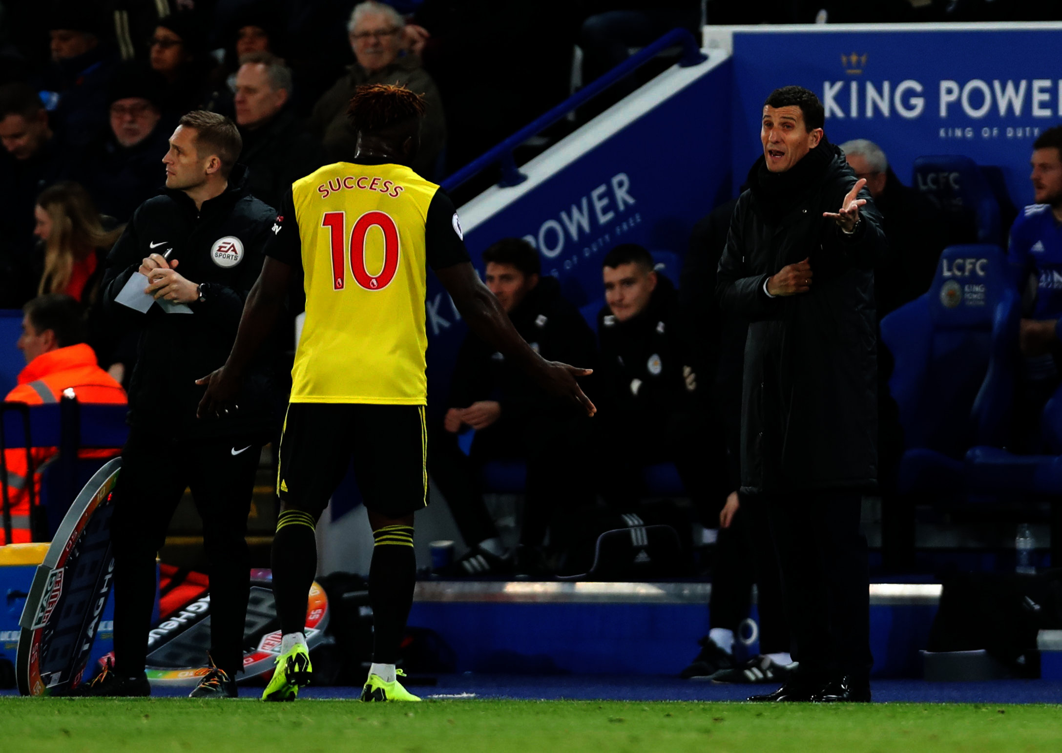 Javi Gracia wants Isaac Success to behave better after an incident with a ballboy at Wembley. Picture: Action Images