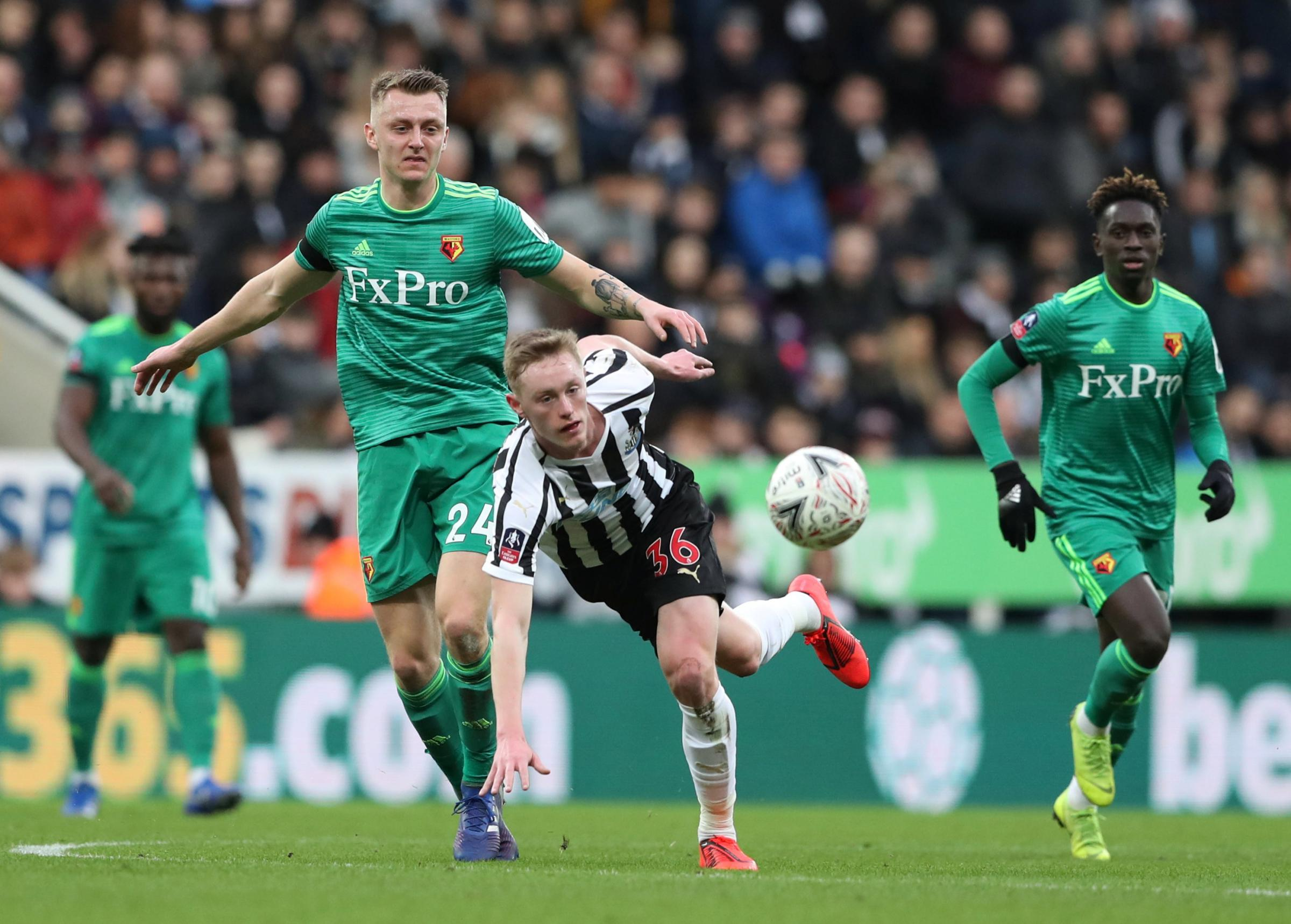 Ben Wilmot in action in Watford's FA Cup win at Newcastle United on Saturday. Picture: Action Images