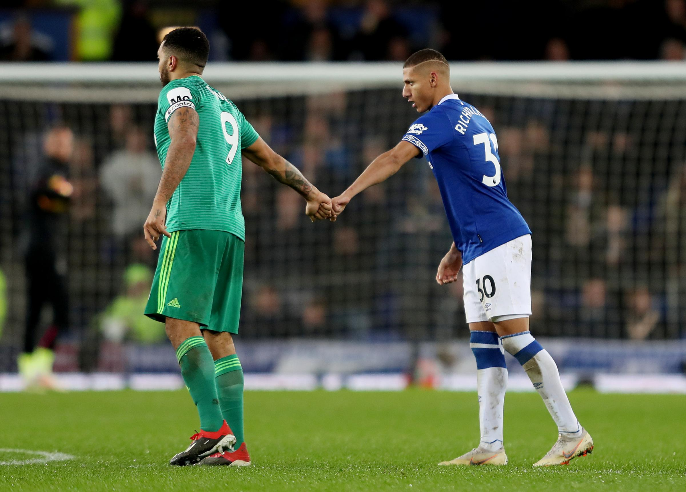 Respect: Troy Deeney and Richarlison during the 2-2 at Goodison Park in December. Picture: Action Images