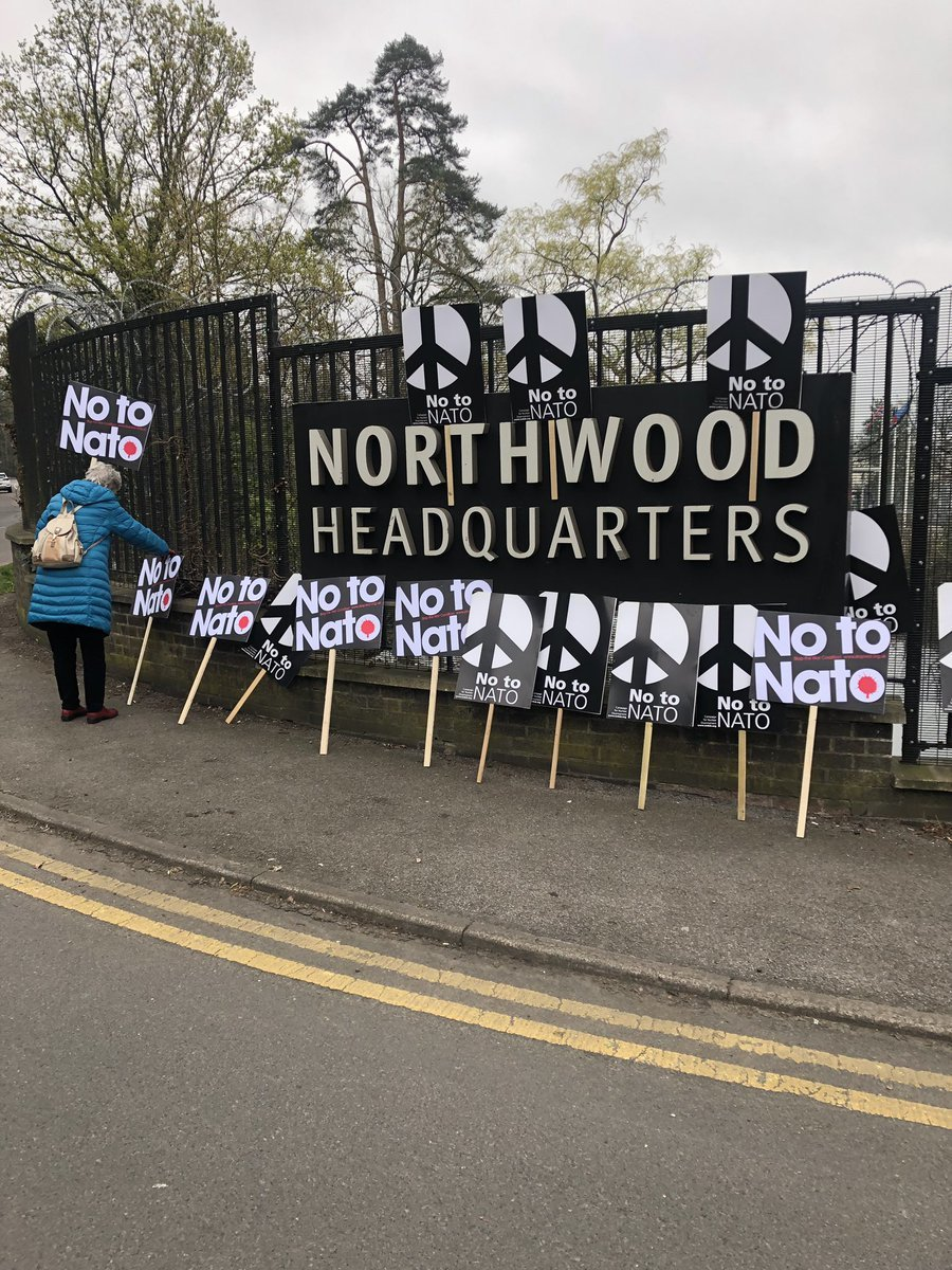 CND placards outside the Northwood Base