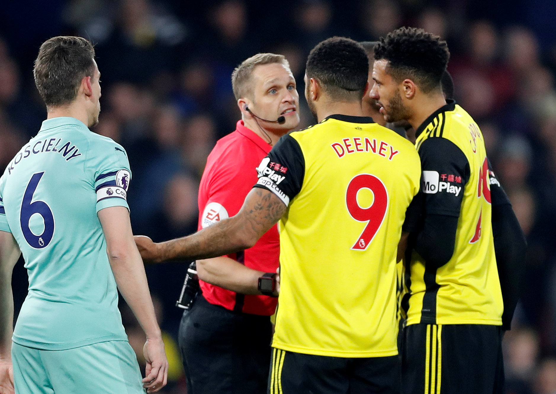Craig Pawson sent off Troy Deeney in Watford's home defeat to Arsenal. Picture: Action Images