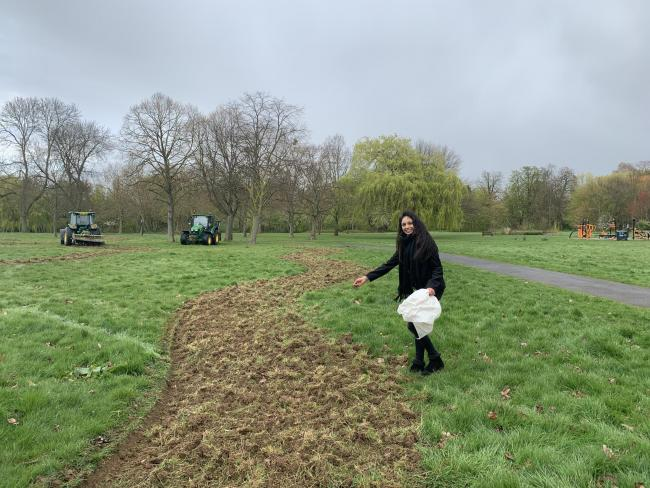 Cllr Krupa Sheth, responsible for the environment at Brent Council, plants seeds