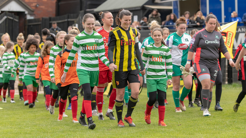 'I have been honoured to captain this club'. Helen Ward leads out Watford FC Ladies for last weekend's final game of the campaign against Plymouth Argyle Ladies. Picture: AW Images