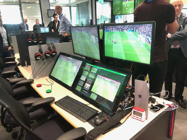 VAR demonstrations during the PGMOL VAR media briefing at Stockley Park. Picture: Andy Sims/PA Wire
