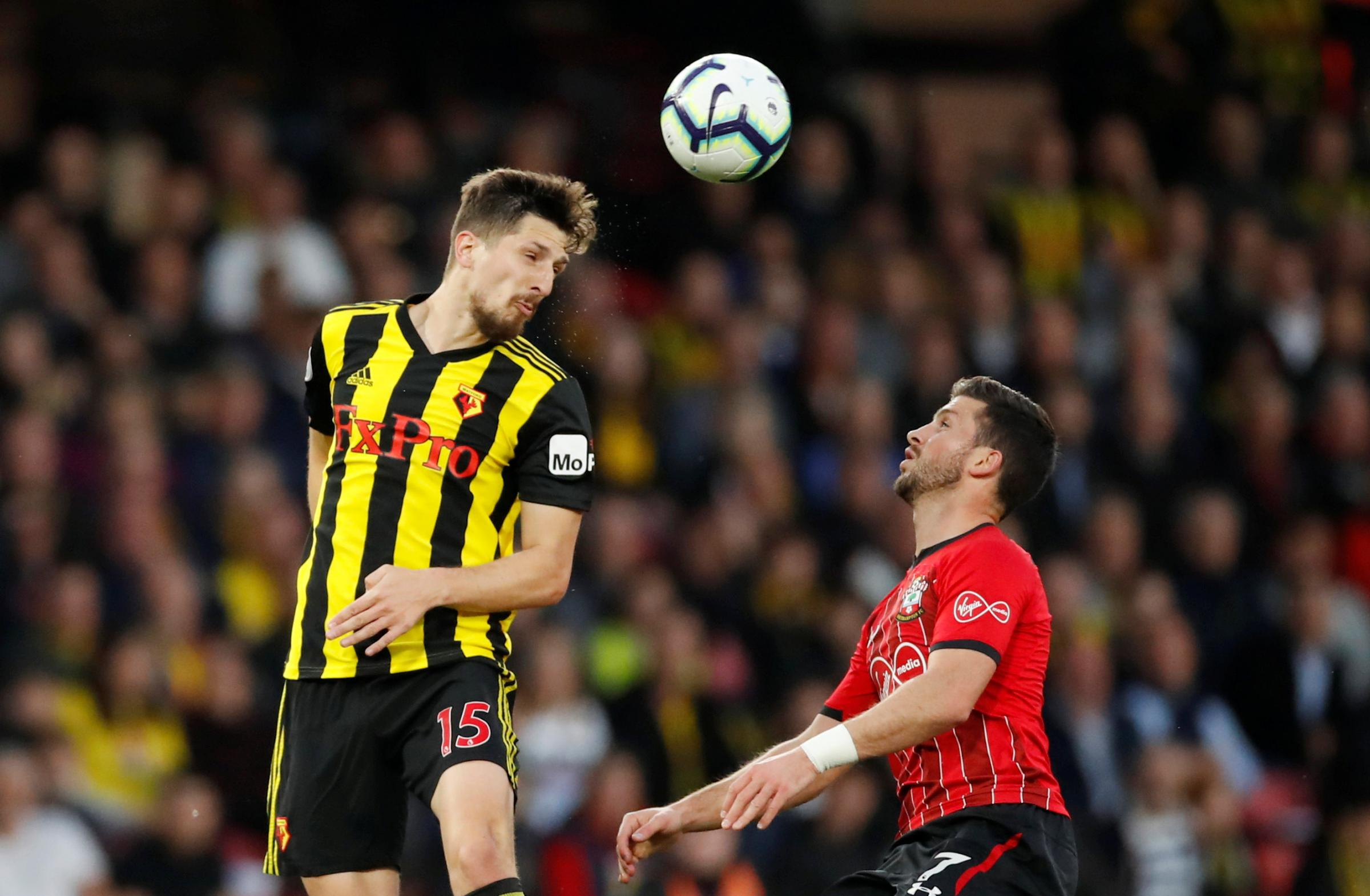 Craig Cathcart during Watford's game against Southampton. Picture: Action Images