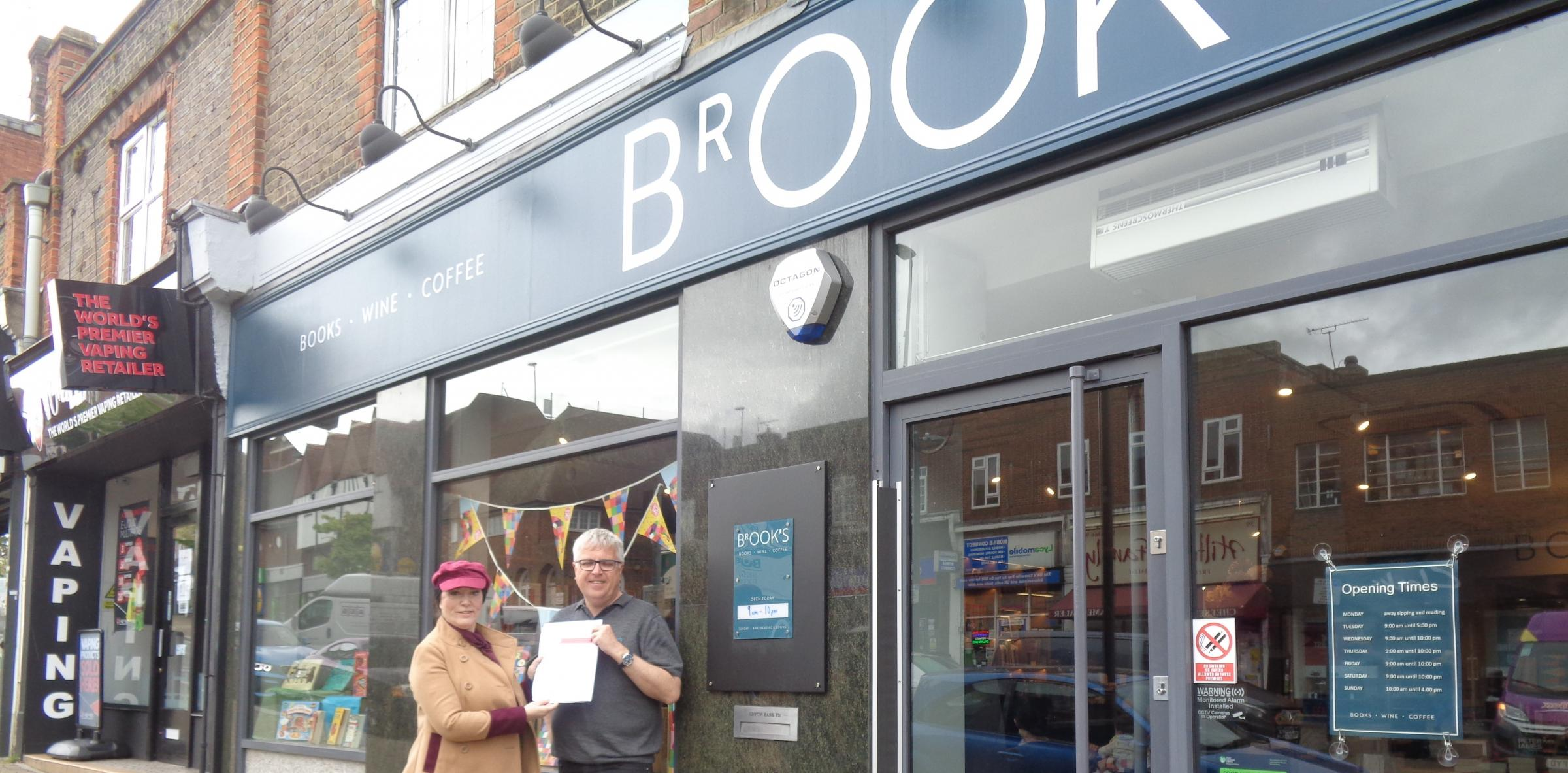 Petitioner Suzanne Sedgeman and bookshop owner Peter Brook