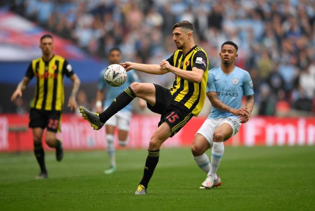 Craig Cathcart plays the ball during the FA Cup final against Manchester City. Picture: Action Images