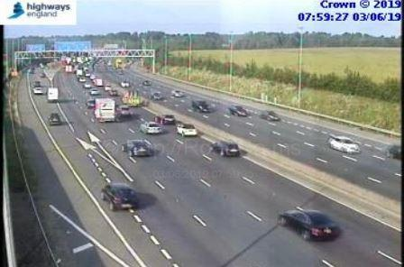 Traffic building at j17 on the M25 in Hertfordshire. Photo: Highways England