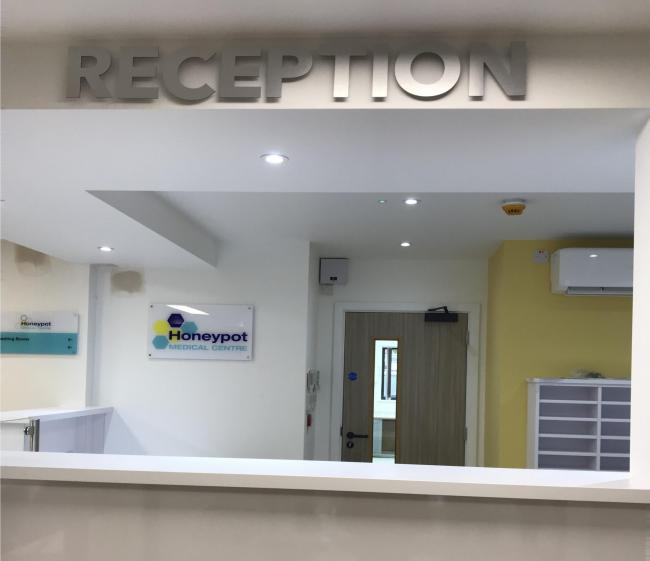 The new reception at the medical centre